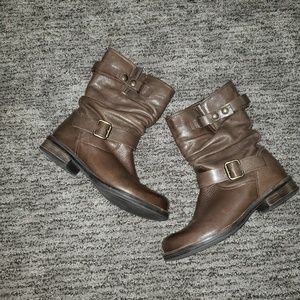 Eric Michael leather moto boots, size 38 or 8